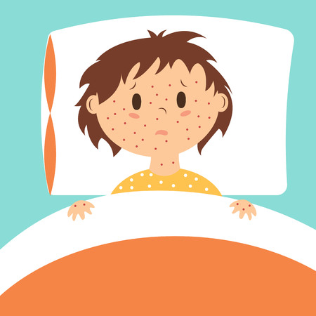 baby sick: Sick kid with rash on face laying in bed.