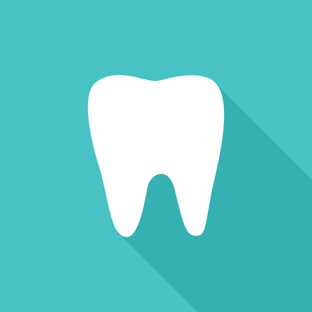 Flat vector icon of white tooth with shadow.