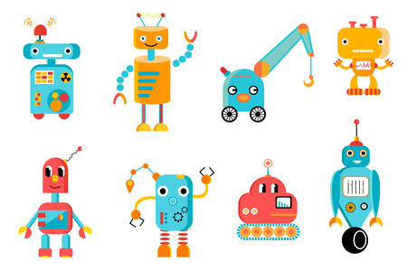 Vector set of eight colorful funny robots.