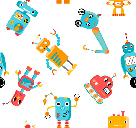 Vector seamless pattern with funny robot characters.