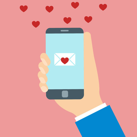 smart card: Valentine day message on phone screen. Hearts around smart phone.
