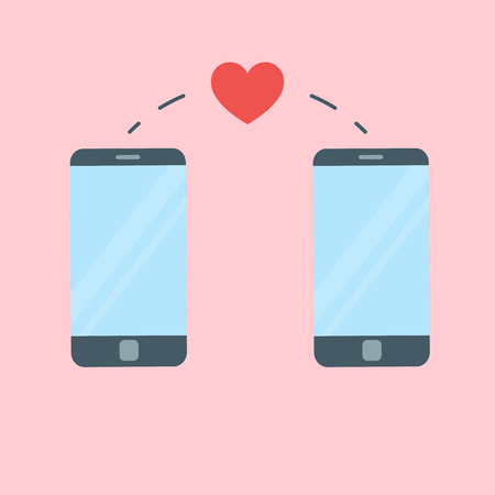 Two phones and heart sent in between them. Love message concept.