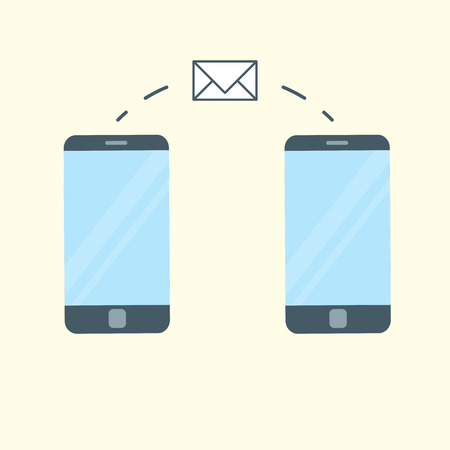 of them: Two smart phones and message icon between them. Illustration