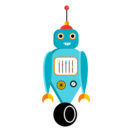 Cute blue robot with a wheel. Cartoon vector character Illustration