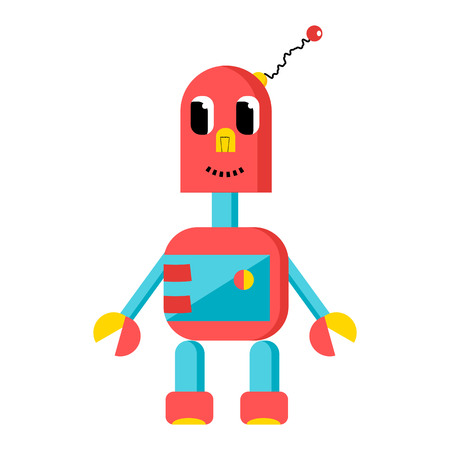 Funny red robot in cartoon style. Vector image