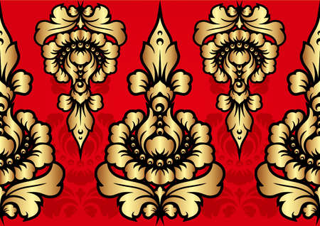 gold and red: Patra Bali Gold Red Motif
