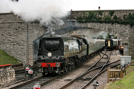 Battle of Britain Class Steam Loco No 34070 Manston departs Swanage Station on the Swanage Railway - Corfe Castle, Dorset, UK - 18th August 2009