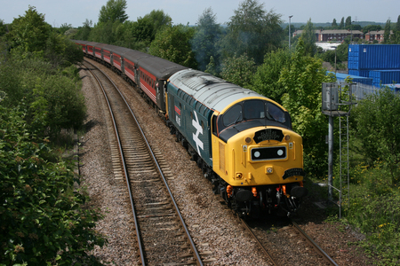 traction: British Diesel Locomotive Class 40 No 40135 East Lancashire Railway at Castleford, South Yorkshire, UK with Holyhead to Durham Charter - 25th May 2009