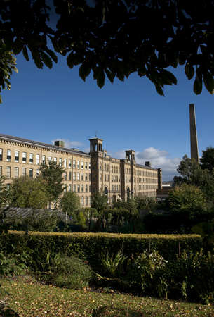 View of Salt's Mill, a UNESCO world heritage site in Saltaire, Bradford, West Yorkshire. October, 2013 Editorial