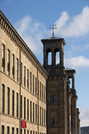 View of Salts logo on Salt�s Mill, a UNESCO world heritage site in Saltaire, Bradford, West Yorkshire. October, 2013