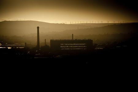 Industrial skyline of mills in Bradford, West Yorkshire, UK - 9th Oct 2013