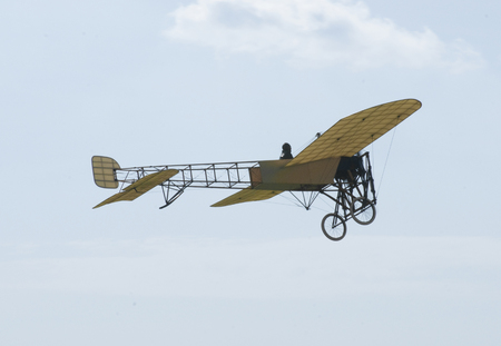 A replica of a Louis Bleriot monoplane displaying at Hahnweide Oldtimers Airshow, Hahnweide Airfield, Baden-Wurttemberg, Stuttgart, Germany - 3rd September 2011