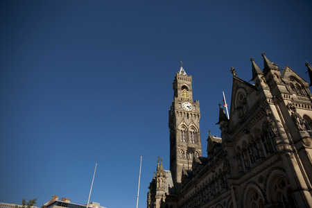 A view of Bradford City Hall against blue skies in, Citypark, Centenary Square, Bradford, West Yorkshire in October 2013
