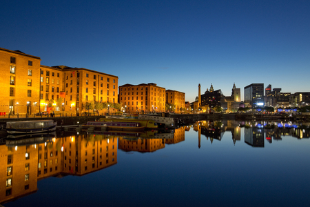 Nighttime view of Salthouse Docks next to the Albert Dock in the cultural quarter of Liverpool. Taken 11 June 2014 in Liverpool, Merseyside, UK Editorial