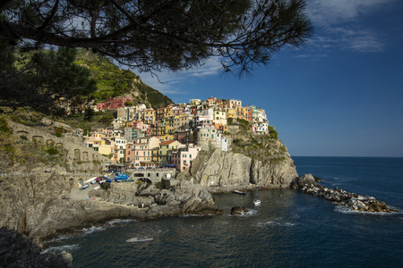 A view of the Cinque Terre village Manarola in La Spezia, Liguria, Italy - 16th May 2016