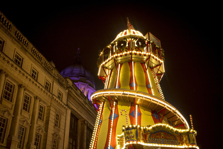 A view of the town hall and helter skelter at Nottingham Christmas Market in the Old Market Square, Nottingham, Nottinghamshire - 30th November 2017
