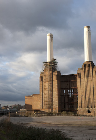 View of Battersea Power Station before major redevelopment, Battersea, London, UK - March 2013