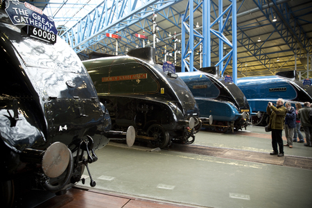 Line up of A4 Steam Locomotives at the Great Gathering held at the National Railway Museum, York, UK - November 2013