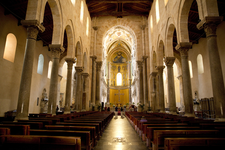 Interior of the Cathedral Basilica of Cefalu, Cefalu, Sicily, Italy, Europe - June 2015