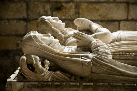 Tomb and memorial in All Saints Church, Harewood House, Yorkshire, UK - April 2016 Editorial