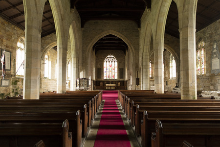 Nave and interior of All Saints Church, Harewood House, Yorkshire, UK - April 2016 Editorial