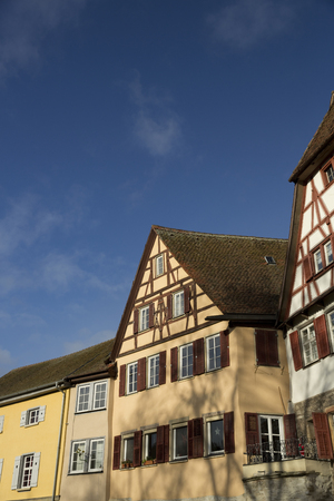 Old medieval houses, Schwabisch Hall, Baden-Wurttemberg, Germany - December 2013 Editorial