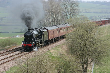 8F Steam Locomotive No. 48151 at Gargrave - 23rd April 2010 with the Whitby-Carnforth Charter Train - Gargrave, United Kingdom Éditoriale