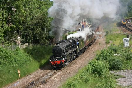 Black Five Steam Locomotive number 44871 at Dore on a charter train 12th June 2010 - Dore, Sheffield, United Kingdom Editorial