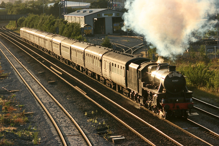Black Five Steam Locomotive number 45407 at Pepper Road on a Scraborough Spa Express charter train 5th August 2010 - Pepper Road, Leeds, United Kingdom