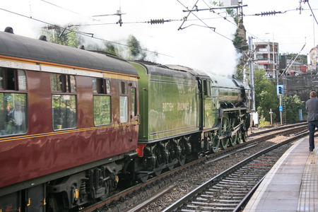 A1 Steam Locomotive Tornado with a York to Carlisle Railtour - Shipley, Yorkshire, United Kingdom - 3rd October 2009