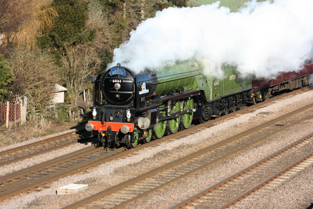 A1 Steam Locomotive Tornado on a test run - Colton Junction, Yorkshire, United Kingdom - 30th January 2010