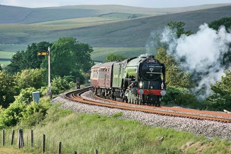 A1 Steam Locomotive Tornado with a Carlisle to Crewe Railtour - Hellifield, Yorkshire, United Kingdom - 24th June 2010 Editorial