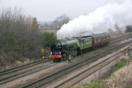 A1 Steam Locomotive Tornado on a test run with support coach - Monk Fryston, Yorkshire, United Kingdom - 28th January 2009 Editorial