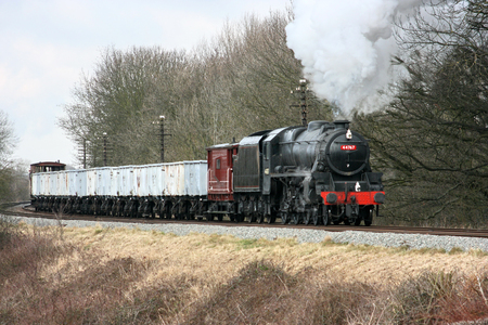 Black Five Steam Loco number 44767 with Windcutter Freight Train at the Great Central Railway Heritage Steam Railway, Loughborough, Leicestershire, United Kingdom - 21st March 2010