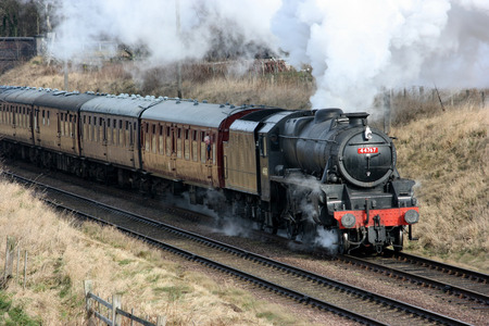 Black Five Steam Loco number 44767 at the Great Central Railway Heritage Steam Railway, Loughborough, Leicestershire, United Kingdom - 21st March 2010