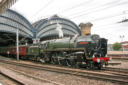 Britannia Steam Loco number 70013 Oliver Cromwell at York Station, Yorkshire, United Kingdom - 27th August 2009