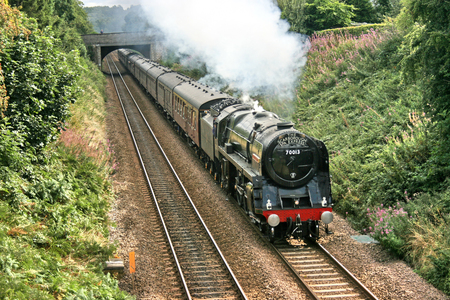 Britannia Steam Loco number 70013 Oliver Cromwell at Pannal, Yorkshire, United Kingdom - 27th August 2009 Editorial