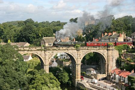 Britannia Steam Loco number 70013 Oliver Cromwell on Knaresborough Viaduct, Knaresborough, Yorkshire, United Kingdom - 25th August 2009 Editorial