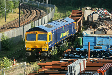 Advenza Class 66 freight loco number 66844 at Shipley Crossley Evans Scrapyard, Shipley, West Yorkshire, UK - 26th August 2009.