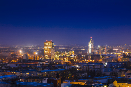 Nightime skyline of Brno showing the AZ Tower, Brno, Czech Republic, Europe - 22nd February 2018