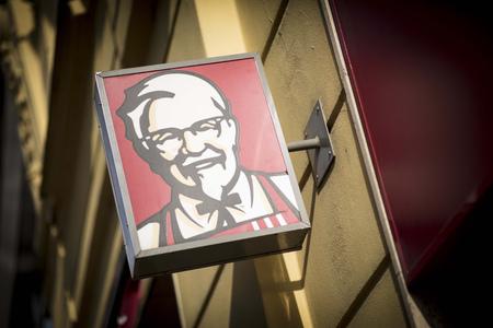 KFC signage on a KFC restaurant in Brno, Czech Republic, 24th February 2018