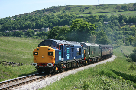 Class 37 37087 and D6737 at the Keighley and Worth Valley Railway, West Yorkshire, UK - June 2008 Editorial