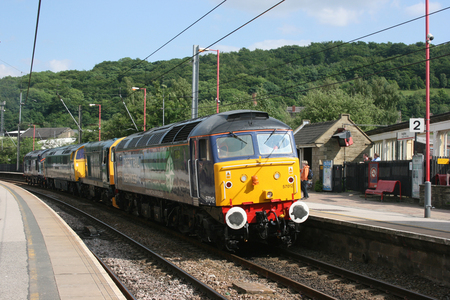 Direct Rail Services Class 57 57012 arriving at Keighley for the Keighley and Worth Valley Railway, West Yorkshire, UK - June 2008
