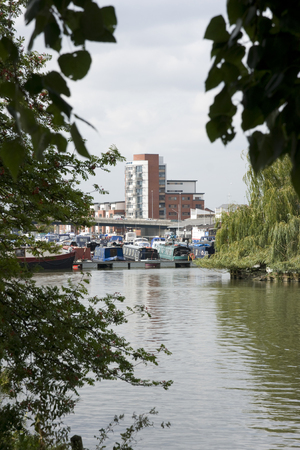 A view of Brayford Pool with student accomodation in the background, Lincoln, Lincolnshire, United Kingdom - August 2009 Editorial