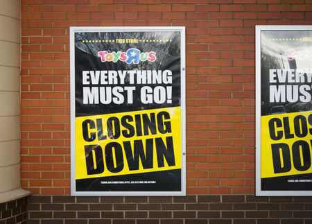 Closing Down signage on a Toys R Us Store in Lincoln, Lincolnshire, UK - 22nd March 2018