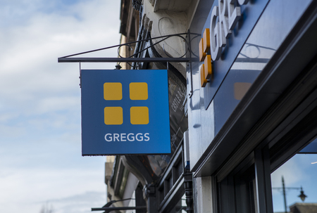 Greggs sign in the city centre, Nottingham, Nottinghamshire, UK - 3rd April 2018 Editorial
