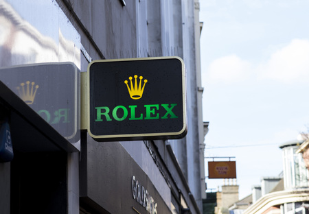 Rolex watches sign in the city centre, Nottingham, Nottinghamshire, UK - 3rd April 2018