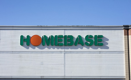 Homebase sign and logo, St Marks Retail Park, Lincoln, Lincolnshire, UK - 5th April 2018