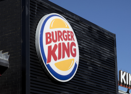 Burger King sign at the St Marks Retail Park, Lincoln, Lincolnshire, UK - 5th April 2018