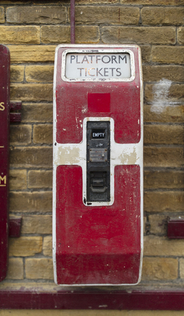 Platform ticket machine at Keighley and Worth Valley Railway, Keighley, West Yorshire, UK - 7th April 2018 Éditoriale